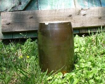 Antique Canning Wax Sealer Stoneware Crock