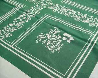 Vintage Print Tablecloth  Dark Green and White Squares Blocks and Flowers Leaves by Leacock Prints , 46 by 51