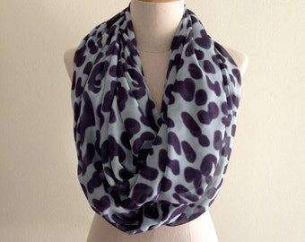 Blur Animal Print Scarf, Infinity Scarf, Spring Scarves, Women's Scarves, Light Blue and Dark Gray