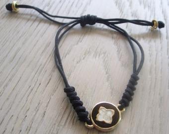 Handmade Clover Black White Macrame Cord Wish Clover Stackable Friendship Everyday Unique Bracelet