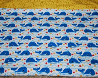 INVENTORY SALE - 30% off Regular price - Ships Today, Whimsical Whales and Crabs Crib  Blanket, Nursery , Flannel