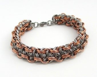 Men's chainmail bracelet, stainless steel and copper, Vipera Berus weave