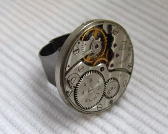 Men's Industrial Watch Statement Ring, Steampunk Jewelry, Clock Work Gear Ring with watch movement. Gift under 30 Dollars