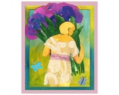 girl with Hydrangea  PRINT 8x10    by Elizabeth Rosen