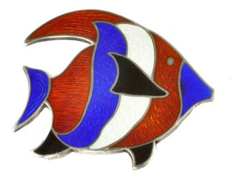 Sterling Silver 1960's Sailfish Brooch / Pin w/ Red, White and Blue Enamel Signed by Beau - Vintage Nautical Style Jewelry - 925 Silver Pin