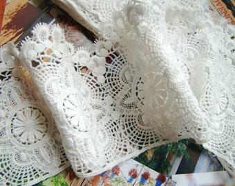 off white lace trim, cotton lace trim, cotton guipure lace trim