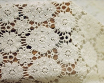 ivory crochet lace fabric, cotton lace fabric, ON SALE