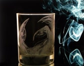 Custom Glassware - Dragon claw Tumbler Glass Set of two -  Whiskey Glasses  - Double Old fahioned