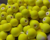Neon Yellow Rubber Coated Beads 50pcs 8mm