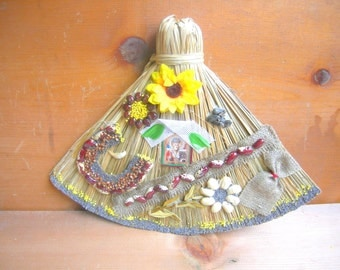 Vintage russian whisk broom straw harvest home decor