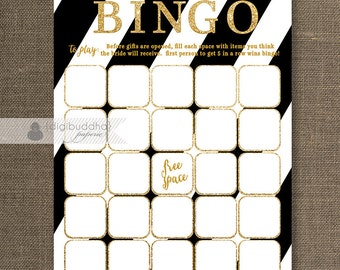 Black & white Gold Glitter Bridal Shower Bingo Shabby Chic Modern Shower Game Card Printed Game Cards - Stella
