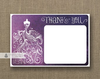 Wedding Gown Plum Ombre Thank You Card INSTANT DOWNLOAD 4x6 Flat Purple Watercolor Dress Bridal Shower DIY Printable- Kim Style