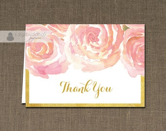 Blush Pink & Gold Thank You Card INSTANT DOWNLOAD Watercolor Bloom Bridal Shower Folded Note Notecard Blank Inside Digital or Printed- Leona