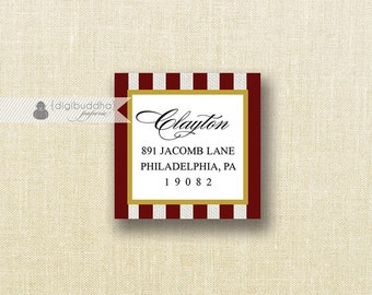"Maroon Stripe Address Labels with Gold Small Stickers 1.25"" Square Bridal Shower Printable Return Address DIY Digital or Printed- Loreen"