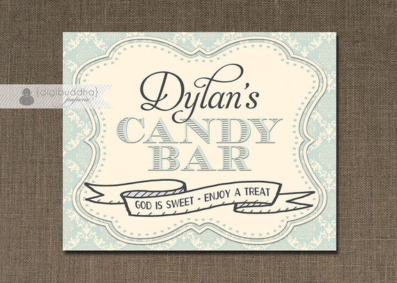 Blue Damask Candy Bar Sign Baby Boy Blue Baptism ...