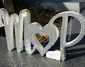 Personalised Bling Swarovski Crystal Joined Initials Engagement Wedding Anniversary Freestanding name plaque centrepiece