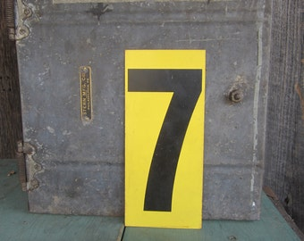 Vintage Metal Number Six or Seven Price Sign Double Sided Gas Station Number 6 or Number 7 Old Industrial Black Yellow Address Sign Plate