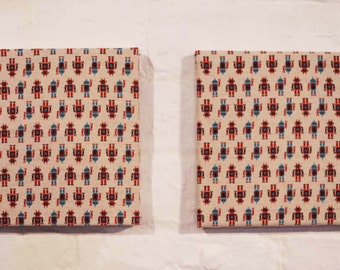 Boys Retro Robots Fabric Canvas Wall Art