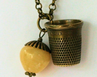 Brass Thimble Peter Pan Jewelry And Honey Jade Acorn Peter Pan and Wendy Hidden Kisses Necklace