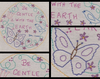 Be Gentle With The Earth..No1 Hand Embroidery Pattern by PDF