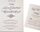 Modern Calligraphy Names Wedding Invitation, Elegant and Classic, Letterpress Purple and Gray