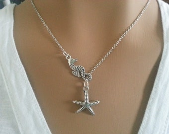 Sea Horse and Starfish Lariat Necklace