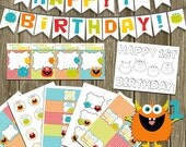 Monster Birthday Party Printables: Chevron