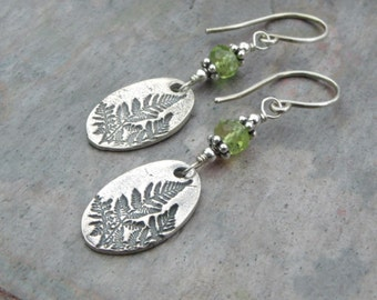 Sterling Silver Summer Fern and Peridot Earrings - made to order