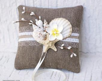 Burlap  Rustic Ring Pillow. Beach Ring Bearer Pillow. Shells Ring Pillow