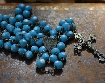 Vintage French rosary, blue glass beads, Art Nouveau, religious collectibles, Catholic jewelry, antique silver cross
