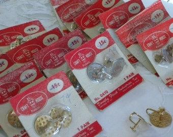 Vintage Dorothy Flicek Silver Metal Earrings Clasps NIP 1950s ESTATE Jewelry Findings Earring Clasps