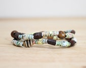 Earthy Bracelet Set, Sea Foam Green and Brown, Made From Recycled Book Pages, Teacher Gift, Organic Bracelet Set, Book Bracelet