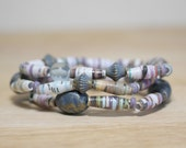 Purple and Plum Recycled Paper Bead Bracelet Set Made From Book Pages