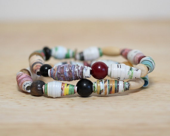 Jack And The Beanstalk, Recycled Paper Bead Bracelet, Handmade With Book Pages, Jack and the beanstalk