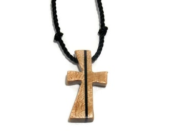 Wooden Carved Cross Necklace - Maple & Ebony - Jewelry for Guys