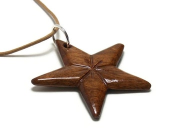 Star Necklace - Wooden Star Pendant - Star Pendant Necklace - Star Necklace Women - Wooden Pendant Star - Wood Pendant - Walnut Hardwood