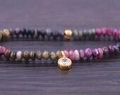Gemstone Bracelet- Gold- Tourmaline - Crystal- Purple- Green