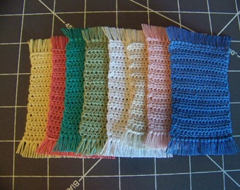 Dollhouse Miniature Hand Crocheted Fringed Throw Rugs (Made from Bamboo Thread)
