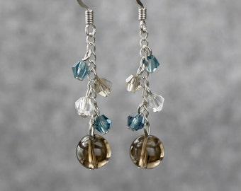 Smoky quartz dangling chandelier earrings Bridesmaids gifts Free US Shipping handmade Anni Designs