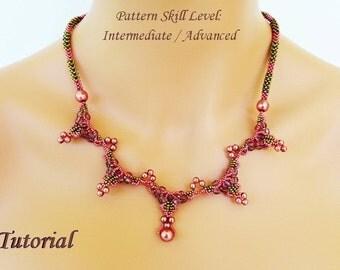 THORNBIRD beaded necklace beading tutorial beadweaving pattern seed bead beadwork jewelry beadweaving tutorials beading pattern instructions