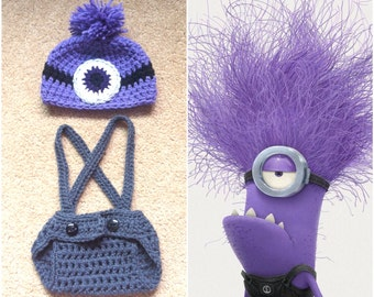 Crochet Evil Minion Outfit (Beanie/Hat, Diaper cover w/Suspenders)