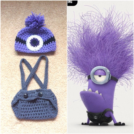 Crochet Patterns For Baby Overalls : Crochet Evil Minion Outfit Beanie/Hat Diaper cover