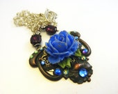 The Blue Flower necklace - Hand painted mixed metal pendant with Swarovski Crystals