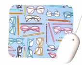 Mouse Pad / Hipster Nerd 80s Glasses and Pens / Home Office Desk Decor / Type by Julia Rothman
