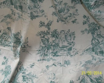 Vintage French thick printed cotton green toile de jouy curtains, fabric.  Country cottage chic.
