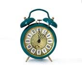 RETRO MID Century  vintage Jaz blue and gold Twin BELL Alarm clock