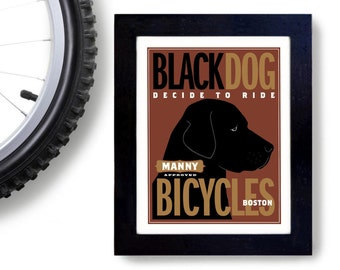 Black Labrador Bicycle Art Print Cycling Art Black Dog Bike Art