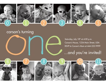 Timeline 1st Birthday Invitation (Boy or Girl) - Digital File