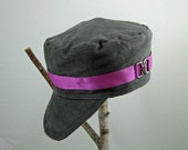 Military Cadet Hat / Cap gray corduroy with pink ribbon, silver buckle, and black fleece lining, OOAK