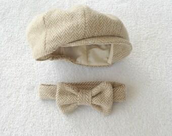 Baby Cap and Tie, Hat and bow tie, Baby boy prop, Newborn photo prop, Herringbone, Newsboy set, Newborn boy photo, Cream newborn, Photo Prop